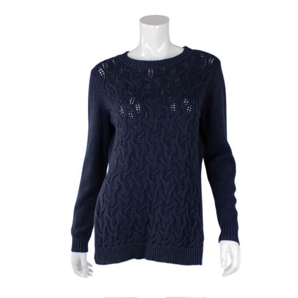 Navy side slit knit sweater